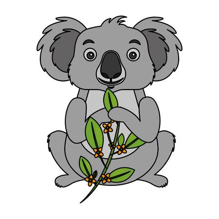 koala eating branch eucalyptus design vector illustration