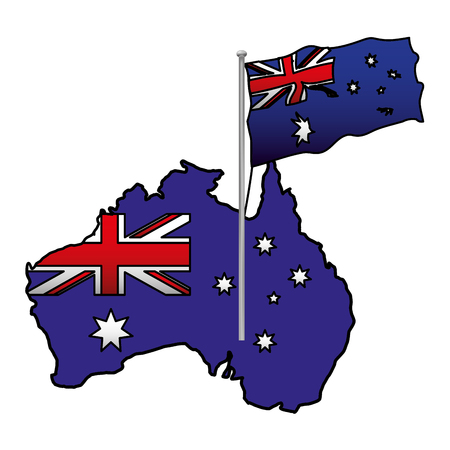 australian map flag in the pole vector illustration Ilustração