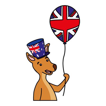 kangaroo with hat and balloon australian celebration vector illustration