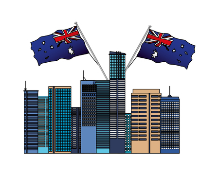 australian city with flags nation vector illustration