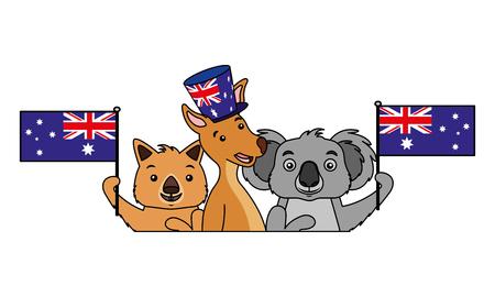kangaroo koala and wombat with hat australian flag vector illustration