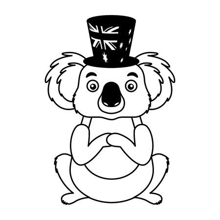 koala with hat australian celebration vector illustration Illustration