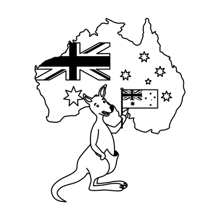 kangaroo with hat australian flag map vector illustration