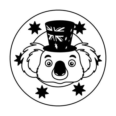 koala hat australian flag emblem vector illustration
