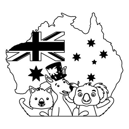 kangaroo koala wombat and emu australian flag map vector illustration