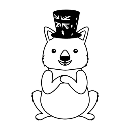 wombat with hat australian celebration vector illustration Illusztráció