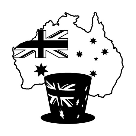 australian map flag with hat vector illustration Illustration