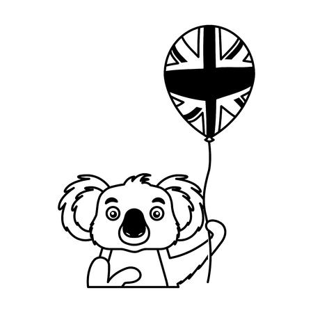 koala with hat and balloon australian celebration vector illustration
