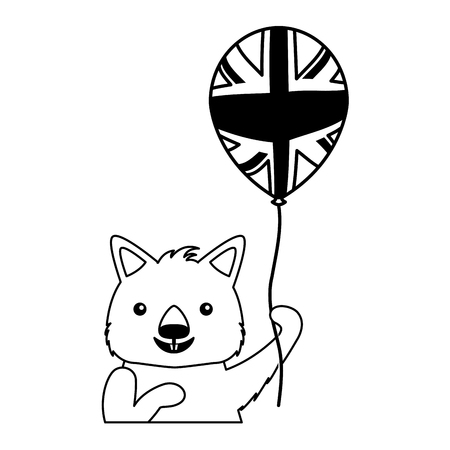wombat with hat and balloon australian celebration vector illustration