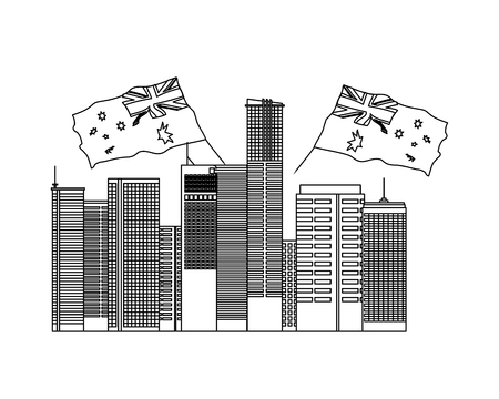 australian city with flags nation vector illustration 版權商用圖片 - 127122874