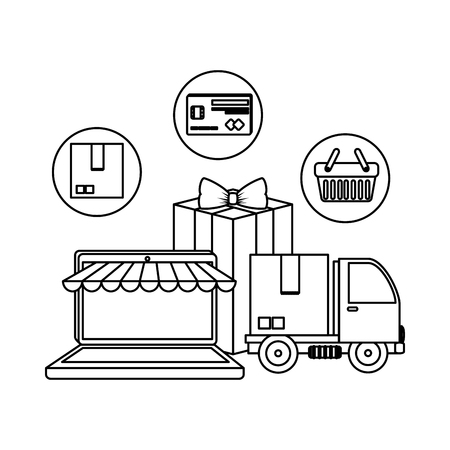 laptop with parasol and truck delivery vector illustration design