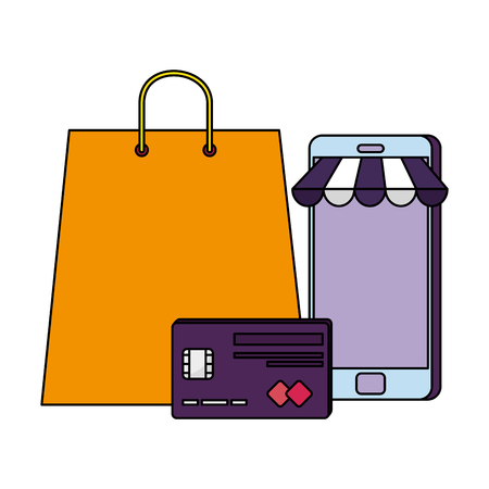 shopping bag with credit card and smartphone vector illustration design