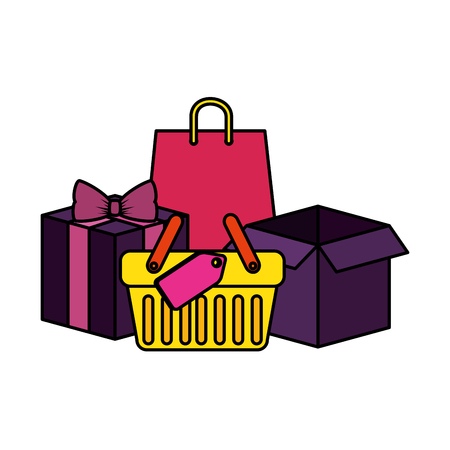shopping basket with gifts and bags vector illustration design Illustration