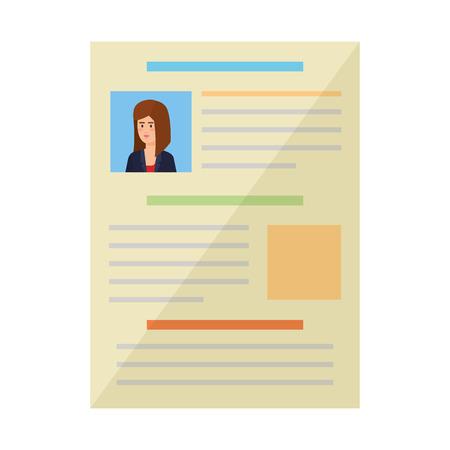 curriculum vitae of woman document vector illustration design