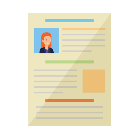 curriculum vitae of woman document vector illustration design