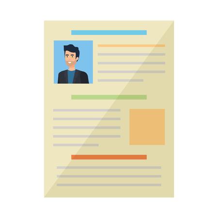 curriculum vitae of man document vector illustration design