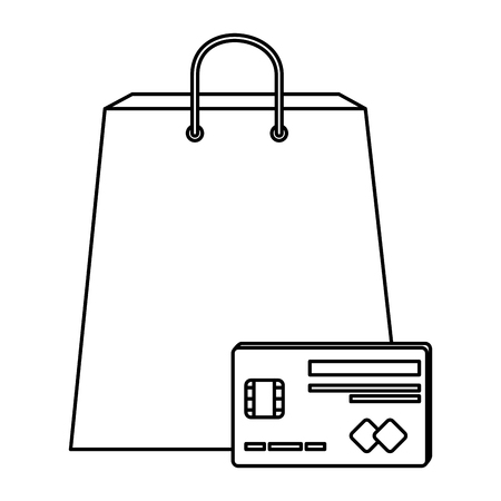 shopping bag with credit card vector illustration design
