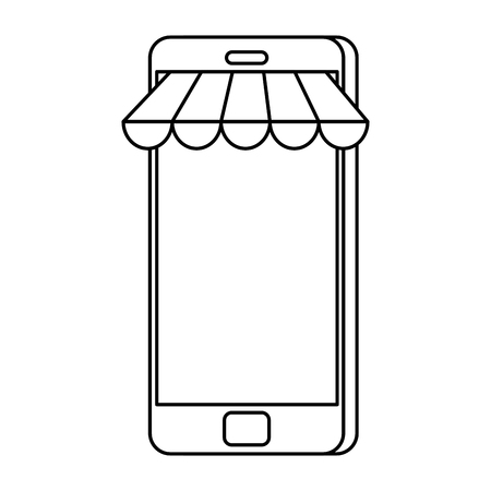 smartphone with parasol icon vector illustration design Illustration
