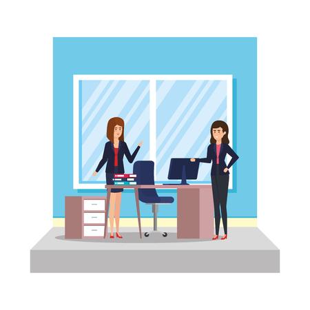 business women with curriculum vitae vector illustration design