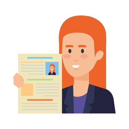 business woman with curriculum vitae vector illustration design