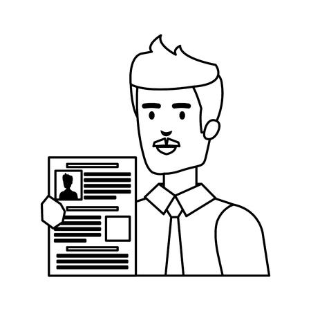 business man with curriculum vitae vector illustration design