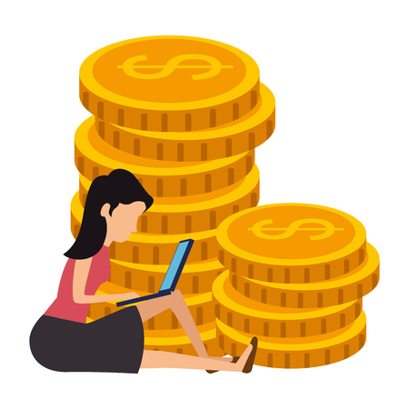 coins cash with woman and laptop vector illustration design Illustration
