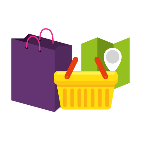 shopping bag with basket and paper map vector illustration design Illustration