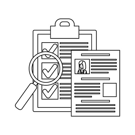 cv with magnifying glass and checklist vector illustration design