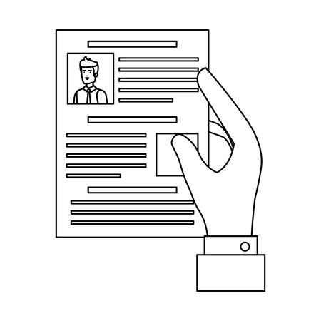 hand with curriculum vitae document vector illustration design