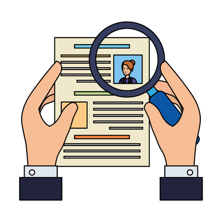 hand with cv and magnifying glass vector illustration design