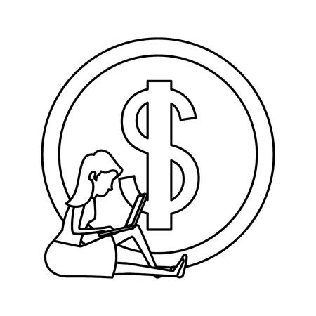 coin money with woman sitting and laptop vector illustration design Ilustração