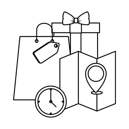 shopping bag with gift and map guide vector illustration design