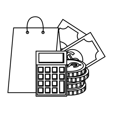 shopping bag with money and calculator vector illustration design Illustration