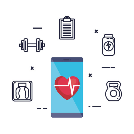 smartphone with fitness app and set icons vector illustration design