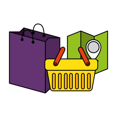 shopping bag with basket and paper map vector illustration design 向量圖像