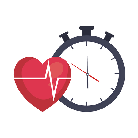 heart cardiology with chronometer vector illustration design