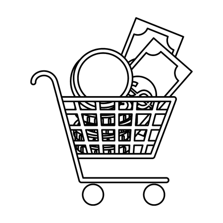 supermarket shopping cart with coins and bills vector illustration design Stock Illustratie