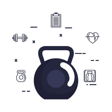 weight lifting dumbbell and set icons vector illustration design Ilustrace