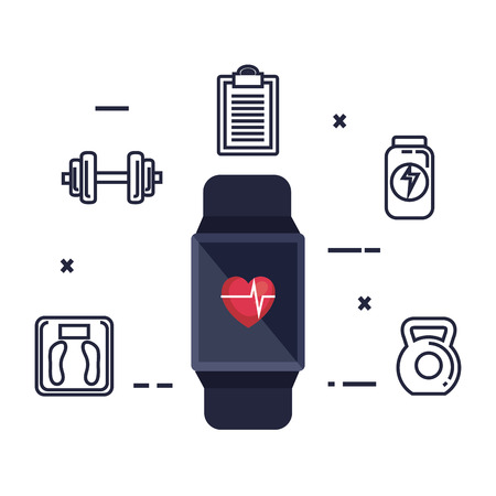 smartwatch with cardiology app and fitness icons vector illustration design