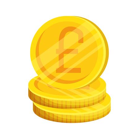 pound sterlings coins icon vector illustration design Ilustração