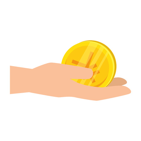 hand with yen coin vector illustration design