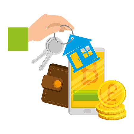 keys of house property with wallet and bitcoins vector illustration