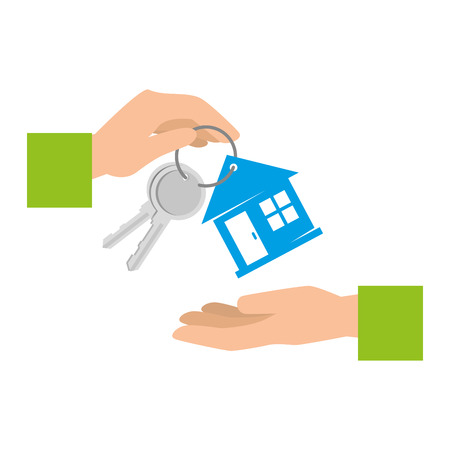 hand with keys of house property vector illustration design