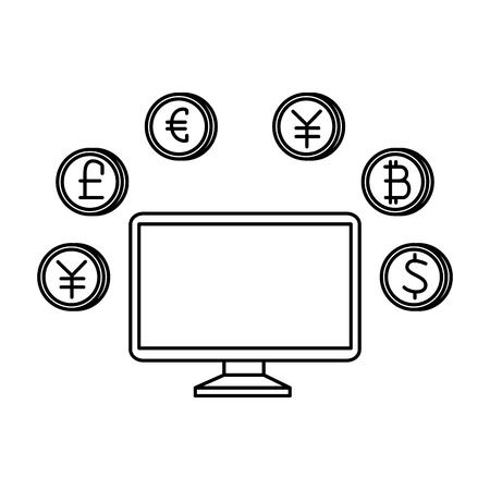 desktop with set of commercial coins vector illustration design