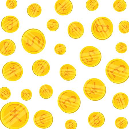 set of commercial coins pattern vector illustration design