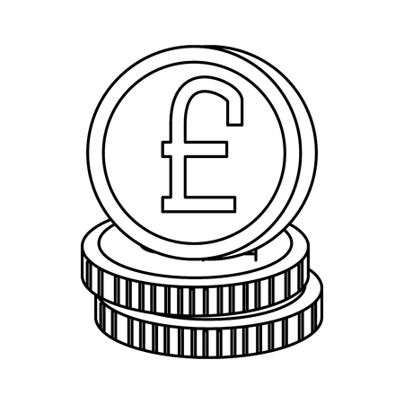 pound sterlings coins icon vector illustration design Çizim