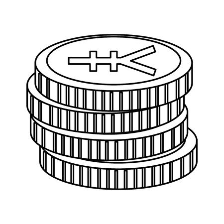 yen coins isolated icon vector illustration design  イラスト・ベクター素材