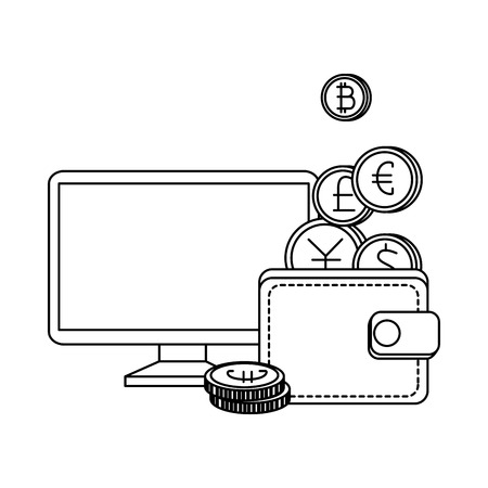 desktop and wallet with set of commercial coins vector illustration design