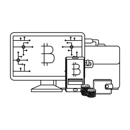 computer desktop with bitcoin commerce vector illustration design