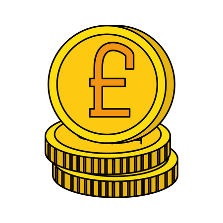 pound sterlings coins icon vector illustration design  イラスト・ベクター素材